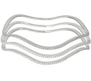 Diamonique Large Set of 3 Wavy Bangles Sterling - J326548