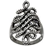 As Is Italian Silver Sterling 9/10 cttw Diamonique Swirl Ring - J327048