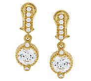 As Is Judith Ripka Sterling 14K Clad Diamonique Drop Earrings - J327248