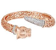 As Is Bronze Diamonique Panther Head Bracelet by Bronzo Italia - J327348