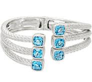 Judith Ripka Sterling Silver 9.60 cttw Blue Topaz Bracelet - J328848