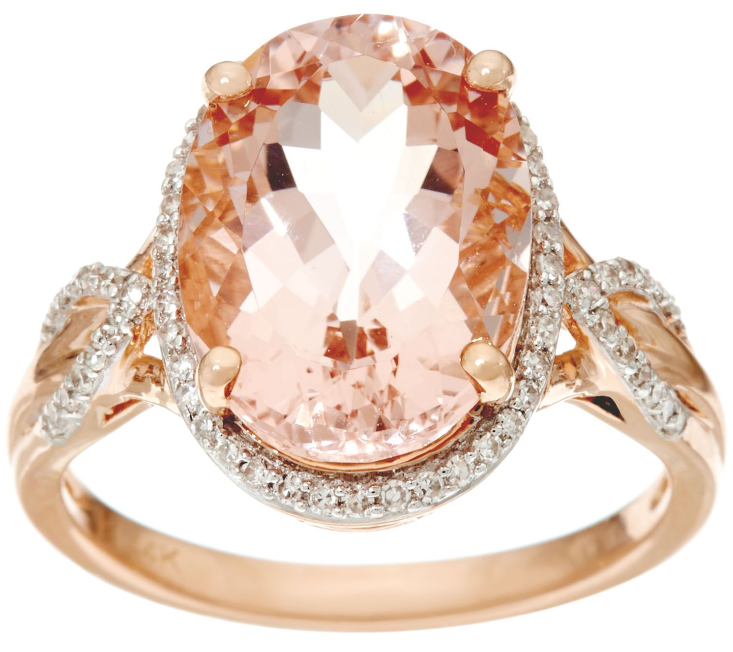 halo diamond oval stacking ring carat gold promise engagement band morganite rose
