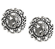 As Is Carolyn Pollack Silver Rodeo Sterling Button Earrings - J331848