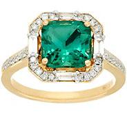 As Is 2.20 ct Cushion Cut Fluorite & 3/10 ct Diamond Ring 14K Gold - J334648
