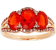 Red Fire Opal & Champagne Diamond Ring 14K Gold 1.50 cttw - J347948