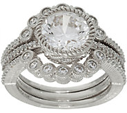 Judith Ripka Sterling Silver 3.10 cttw Diamonique Ring Guard Set - J349048