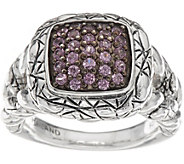 As Is JAI Sterling Sapphire Pave Croco Texture Ring - J351348