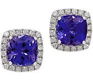 Cushion Tanzanite and Diamond Stud Earrings, 14K, 2.60 cttw - J353748