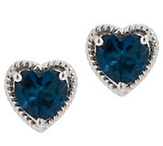 Heart Shape Gemstone Stud Earrings, 2.50 cttw, Sterling Silver - J354048