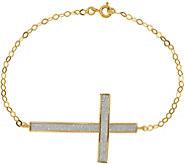 14K Glimmer Oversized Sidways Cross 7-1/2 Bracelet, 1.89g - J376648