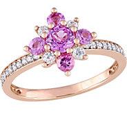 14K Gold 0.85 cttw Sapphire & 1/7 cttw DiamondFlower Ring - J377048