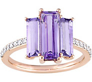 3.60 cttw Amethyst & Rose de France 1/7 cttw Diamond Ring, 14K - J377748