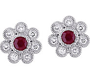 14K 0.70 cttw Ruby & 3/8 ct Diamond Flower StudEarrings - J377848