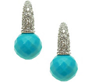 Judith Ripka Sterling Turquoise Bead & Diamonique Earrings - J378248