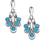 Carolyn Pollack Sterling Turquoise Drop Earrings - J378348
