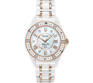 Bulova Womens Ceramic Rosetone Marine Star Diamond Watch - J378548