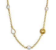 Judith Ripka Sterling, 14K Clad Cultured Pearl,Agate Necklace - J379748