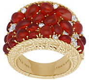 Judith Ripka 14K Clad Fire Opal and DiamoniqueSaddle Ring - J380548