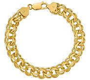 14K Gold 7 Double Link Charm Bracelet, 22.8g - J381648