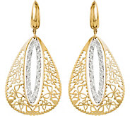 Italian Gold Two-Tone Teardrop Lever Back Earrings 14K, 3.8g - J382248