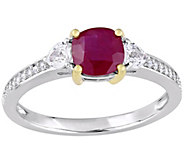 14K Gold 1.30 cttw Ruby and Diamond Accent Three-Stone Ring - J382348