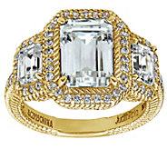 Judith Ripka 14K Clad 4.90 cttw 3-Stone EmeraldCut Halo Ring - J382448