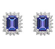 14K Gold 1.60 cttw Emerald-Cut Tanzanite Halo Stud Earrings - J382548