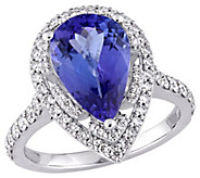 14K Gold 3.10 cttw Pear Tanzanite & 7/10 cttw Diamond Ring - J383648