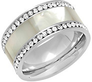 Steel by Design Stainless Mother of Pearl & Crystal Band Ring - J383748