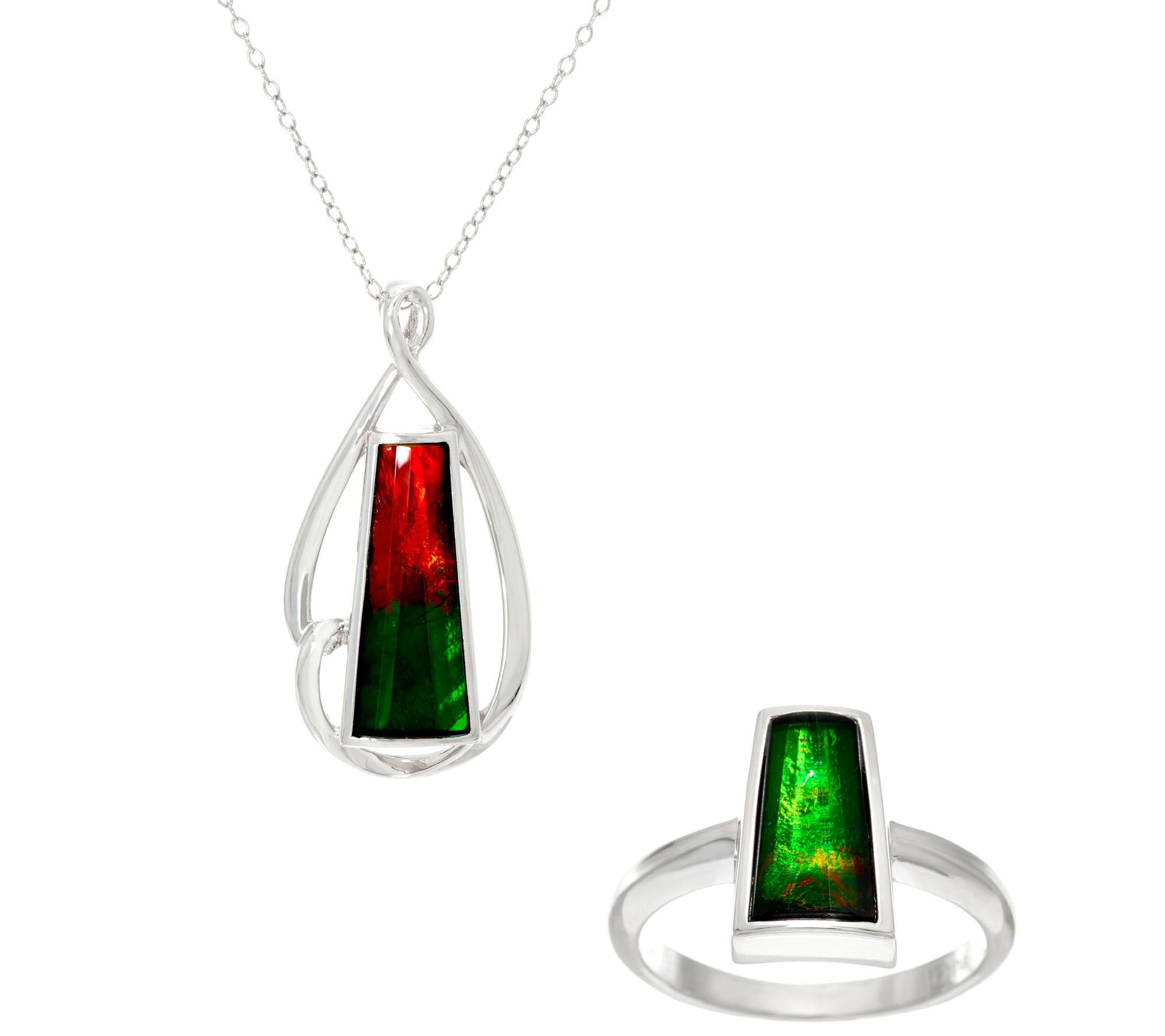 Ammolite Triplet Sterling Silver Ring or Pendant onChain