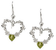 Solvar Sterling Silver Shamrock Heart Earrings with Peridot - J155849