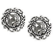 Carolyn Pollack Silver Rodeo Sterling Button Earrings - J157349