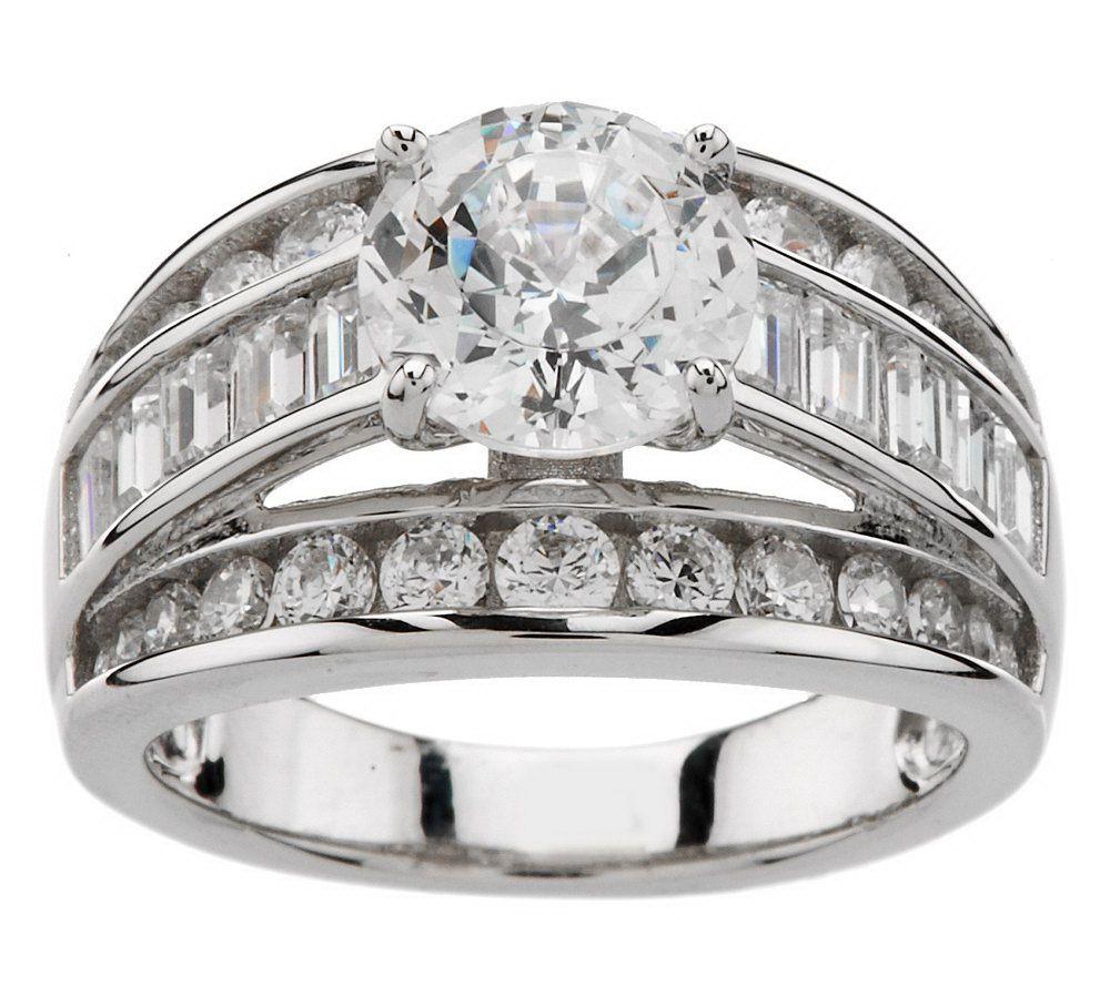 Diamonique 100 Facet 350 cttw Ring Platinum Clad Page 1 QVCcom