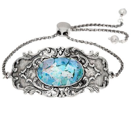 sterling silver roman glass adjustable bracelet by or paz
