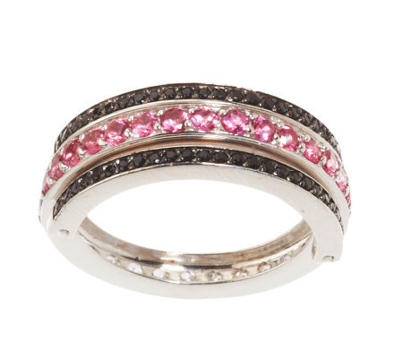 Tanzanite, Pink & Black Spinel Convertible Sterling Band Ring