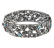 Or Paz Sterling 2.40 ct tw Blue Topaz Large Bangle, 44.0g - J279049