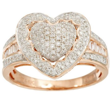 pave 39 heart halo baguette diamond ring 14k 1 2 cttw by