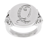 Stainless Steel Crystal Initial Ring - J287249