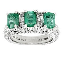 Judith Ripka Sterling 2.30ct Zambian Emerald and Diamonique Band Ring