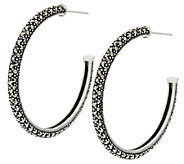 Marcasite Pave Sterling Hoop Earrings - J290249