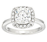 Diamonique 100-Facet Halo Ring, Platinum Clad - J293549