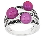 Honora Cultured Pearl and 0.30 ct tw Black Spinel Sterling Ring - J295649