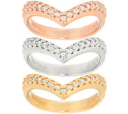 VicenzaSilver Sterling Set of 3 Diamonique Chevron Rings - J297049