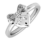 Simply Stacks Sterling & Diamonds Heart with Bow Ring - J299249