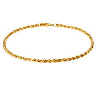 "Veronese 18K Clad 9"" Diamond-Cut Rope Chain Anklet"