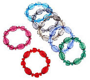 Set of 7 Bold Faceted Bead Bracelets by GaroldMiller - J304649