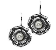 Or Paz Sterling Cultured Pearl Flower Dangle Earrings - J305049
