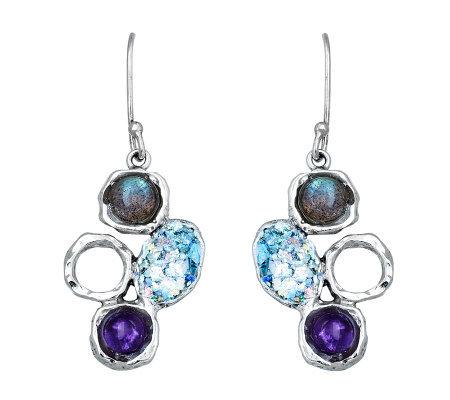 or paz sterling roman glass gemstone drop earrings