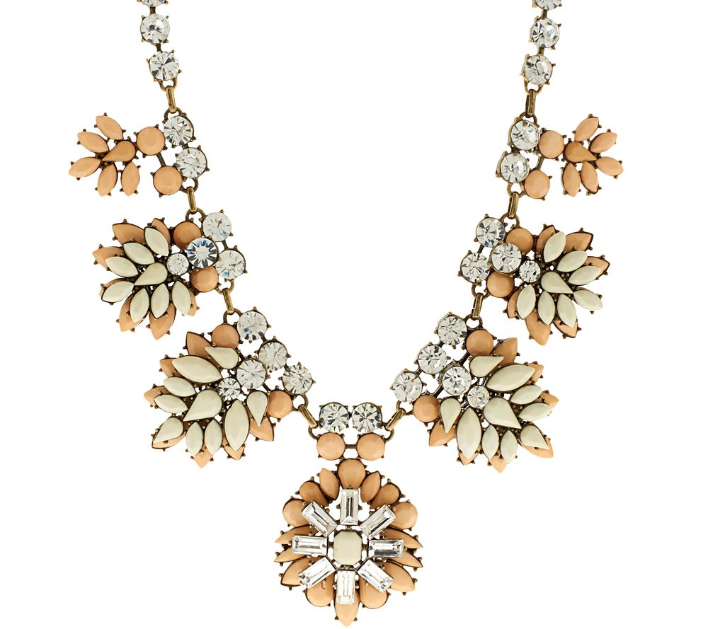Joan rivers crystal and opaque jeweled clusters necklace for Joan rivers jewelry necklaces