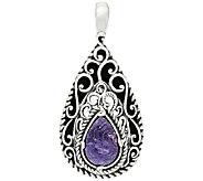 Carolyn Pollack Sterling Silver Charoite & Leather Enhancer - J319349